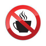 Drinks are not allowed. No coffee cup icon. Red prohibition sign Royalty Free Stock Images
