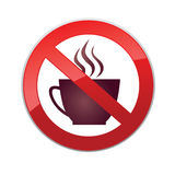 Drinks are not allowed. No coffee cup icon. Red prohibition sign Royalty Free Stock Image