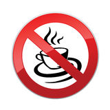 Drinks are not allowed. No coffee cup icon. Red prohibition sign Stock Photos