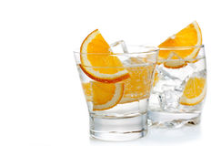 Two cocktails. Drinks with orange on a white background Royalty Free Stock Photography