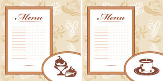 Drinks, pastry and ice cream. Menu card template Stock Photo