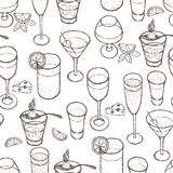 Drinks pattern. Hand drawing sketch Royalty Free Stock Photo