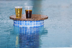 Drinks at the pool bar. Two drinks in a swimming pool bar resort Stock Photography