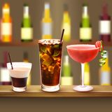 Bar Cocktails Set Composition. Drinks realistic composition with wooden bar counter and three different cocktails with alcololic drink bottles on background Stock Photography