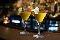 Drinks in restaurante, bar clean and harmony. Waiting for be served Royalty Free Stock Image