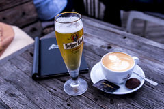 Drinks by the River Spree in the city of Berlin Germany. Royalty Free Stock Photo