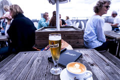 Drinks by the River Spree in the city of Berlin Germany. Stock Photos