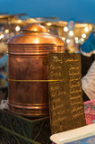 Drinks for sale in Marrakesh. A metal canister holding tea in Marrakesh, Morocco Royalty Free Stock Images