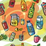 Drinks seamless watercolor Royalty Free Stock Photos