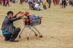 Drinks seller, Nadaam horse race, Mongolia Stock Photography