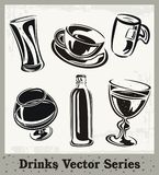 Drinks Series. Set of drinks and beverages illustrations Stock Photography