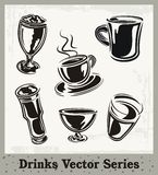 Drinks Series. Set of drink and beverage illustrations in black and white Stock Images