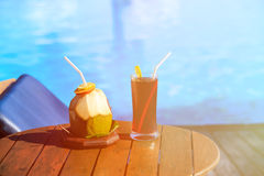 Drinks served on luxury tropical resort in Maldives Royalty Free Stock Images
