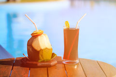 Drinks served on luxury tropical resort in Maldives Royalty Free Stock Photography