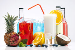 Drinks set with fruits Royalty Free Stock Photography