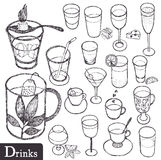 Drinks set. Hand drawing sketch Stock Photos