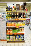 Drinks shelves in an Italian clean supermarket, indoors Stock Photography