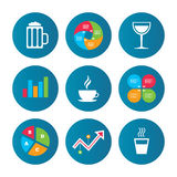 Drinks signs. Coffee cup, glass of beer icons. Royalty Free Stock Photos