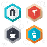 Drinks signs. Coffee cup, glass of beer icons Royalty Free Stock Photography
