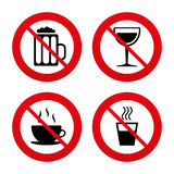 Drinks signs. Coffee cup, glass of beer icons Stock Photo