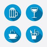 Drinks signs. Coffee cup, glass of beer icons Royalty Free Stock Photo