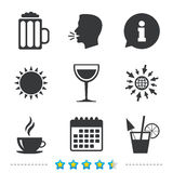Drinks signs. Coffee cup, glass of beer icons. Royalty Free Stock Images