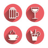 Drinks signs. Coffee cup, glass of beer icons. Drinks icons. Coffee cup and glass of beer symbols. Wine glass and cocktail signs. Pink circles flat buttons with vector illustration