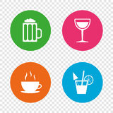 Drinks signs. Coffee cup, glass of beer icons. Stock Photos