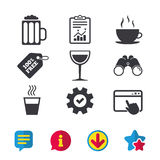 Drinks signs. Coffee cup, glass of beer icons. Royalty Free Stock Photo