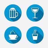 Drinks signs. Coffee cup, glass of beer icons Royalty Free Stock Images