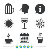 Drinks signs. Coffee cup, glass of beer icons. Drinks icons. Coffee cup and glass of beer symbols. Wine glass sign. Information, go to web and calendar icons stock illustration