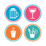 Drinks signs. Coffee cup, glass of beer icons. Royalty Free Stock Photography