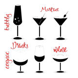 Drinks silhouettes of wine glasses vector illustration