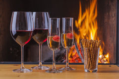 Drinks and snacks at new years eve Stock Photography