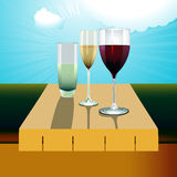 Drinks on the table on a sunny day Royalty Free Stock Photo