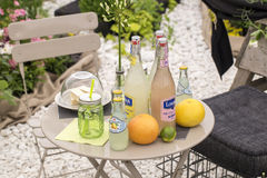 Drinks table stock image
