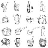 Drinks and tableware. Set of vector sketches vector illustration