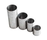 Drinks thimble measures. Selection of metric thimble measures for serving alcohol in public bars Stock Image