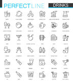 Drinks thin line web icons set. Drink Outline stroke icon design. Stock Images