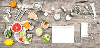 Drinks tools accessories electronic devices Flat lay royalty free stock photo