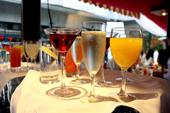 Drinks on the tray. An image of a server's tray full of cocktails stock image
