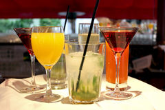 Drinks on the tray. An image of a server's tray full of cocktails royalty free stock images