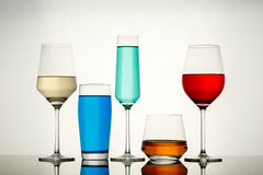 Drinks in various alcoholic glasses Royalty Free Stock Photo