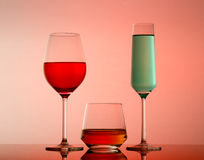 Drinks in various alcoholic glasses Stock Photos