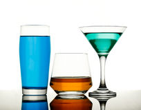 Drinks in various alcoholic glasses Royalty Free Stock Image
