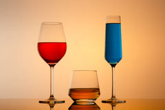 Drinks in various alcoholic glasses Stock Photography