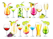 Drinks. Vector collection of cocktails on white background Stock Photo