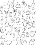 Drinks. Vector illustration of beverage collection in black and white Royalty Free Stock Photos