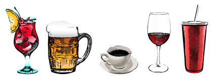 Drinks vector illustratrion Royalty Free Stock Image