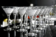 Drinks on wooden bar Royalty Free Stock Photos